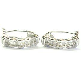 Baguette Diamond Huggie Earrings 18Kt White Gold Leverback .95Ct 21mm