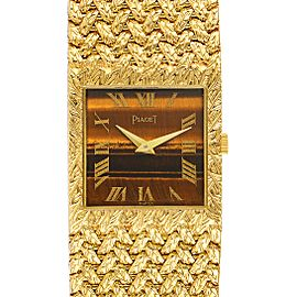 Piaget 18k Yellow Gold Tiger Eye Stone Dial Vintage Mens Watch 9352