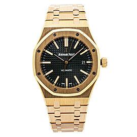 Audemars Piguet Royal Oak 15400OR Rose Gold Black Dial Box&Papers Watch 41mm