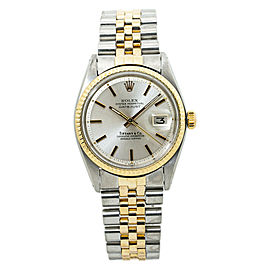 Rolex Datejust 1603 Vintage Tiffany Silver Dial 18k TwoTone Automatic Watch 36mm