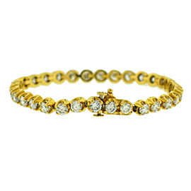 14k Yellow Gold Diamond Tennis Bracelet Aprox. 5.76 ctw