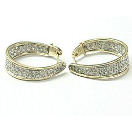 "Diamond Pave Two-Tone Hoop Earrings 106-Stones 2.00Ct G-H/VS2-SI1 1.25"""