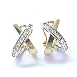 "Natural Round Cut Diamond 2-Tone Gold X Huggie Earrings 14KT .50Ct G-VS2 3/4"""