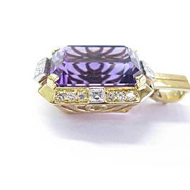 "Natural Amethyst Diamond Yellow Gold Jewelry Pendant 20.76Ct 18Kt 1.5"""