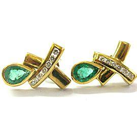 Pear Shape Green Emerald & Diamond Drop X Earrings 14Kt Yellow Gold 1.54Ct