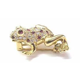Fine 18Kt Gem Ruby Diamond Yellow Gold Frog Pin/Brooch