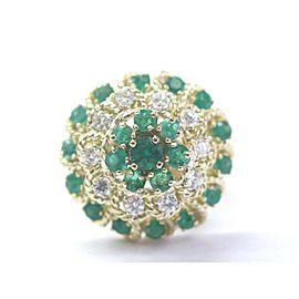 Natural Green Emerald & Diamond Yellow Gold Ballerina Jewelry Ring 18KT 1.65Ct