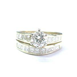 Fine Round & Princess Cut Diamond Yellow Gold Engagement Wedding Set 14Kt 1.67Ct