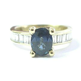 Natural Oval Ceylon Sapphire Baguette Diamond Yellow Gold Ring 18Kt 4.07Ct