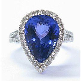 Pear Shape Tanzanite & Diamond Ring White Gold Split Shank AAAA/VS 18KT 6.50Ct