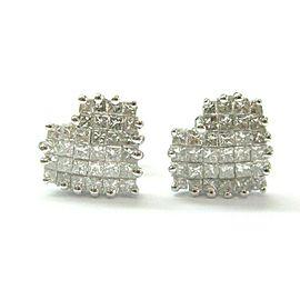 Heart Shape Diamond Stud Earrings 14Kt White Gold 1.00Ct G-VS2 10mm