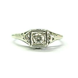 Vintage 18Kt Old European Cut Diamond White Gold Solitaire Ring .15Ct