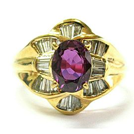 Ruby & Diamond Yellow Gold Ring 18Kt 1.71Ct + .62Ct Purplish Red Ruby SIZEABLE