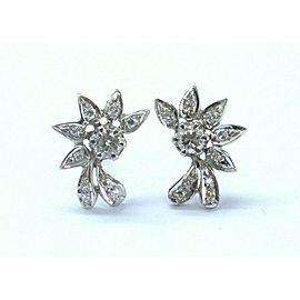 Fine Round Cut Diamond White Gold Earrings Push Back .68Ct 14KT