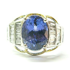 Oval Tanzanite & Diamond Ring 14Kt Two-Tone 5.55Ct + .59Ct F/VS1/AAAA