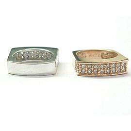 Natural Diamond Rose & White Gold Pave Square Band Rings 1.00Ct