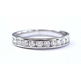 Platinum Round Cut Diamond 12-Stone Half Circle Band Ring .48Ct