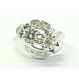 Vintage Twin Old European Cut Diamond White Gold Ring .58Ct 14Kt