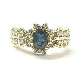 Blue Sapphire & Diamond Ring 14Kt Yellow Gold 1.06Ct + .45Ct SIZEABLE