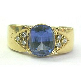 Cushion Tanzanite & Diamond Ring 18Kt Yellow Gold AAAA/VS 2.24Ct+.10Ct SIZEABLE