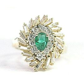Oval Green Emerald & Diamond Multi Shape Yellow Gold Cocktail Ring 14KT 1.25Ct
