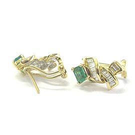 Green Emerald & Diamond Huggie Earrings 18Kt Solid Yellow Gold 2.30Ct FVVS2 16MM