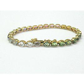 "Oval Shape Multi Color Sapphire Tennis Bracelet 18Kt Yellow Gold 12.50Ct 7"""