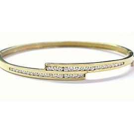 18Kt Round Cut Diamond Yellow Gold Bangle Bracelet 1.15Ct