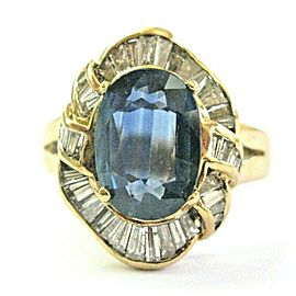 Oval Sapphire & Baguette Diamond Anniversary Ring 18Kt Solid Yellow Gold 3.51CT