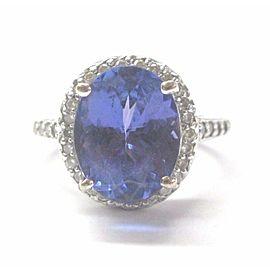 18Kt NATURAL Gem Tanzanite & Diamond Anniversary Ring SOLID White Gold 5.94CT