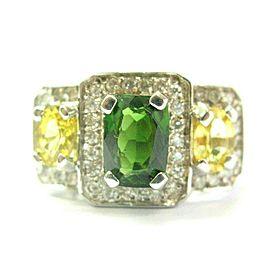Green Tourmaline Yellow Sapphire & Diamond Ring 18Kt White Gold 4.55Ct