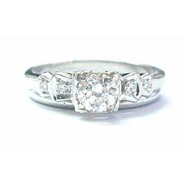 Fine 18Kt/14Kt Old European Cut Diamond White Gold Engagement Wedding Set .49CT