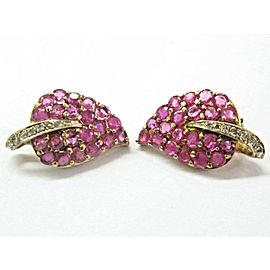 18Kt Natural Ruby & Diamond Yellow Gold Lead Earrings 3.15Ct