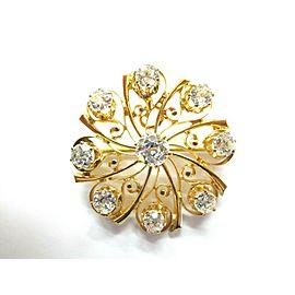 Vintage Old European Diamond Pin / Pendant 14Kt Yellow Gold 2.50Ct