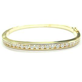 "Round Brilliant Diamond Bangle 18Kt Yellow Gold 2.50Ct 2.25"""