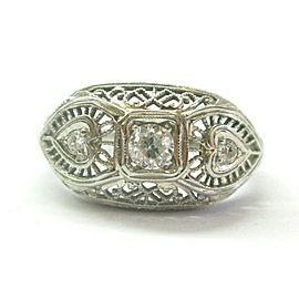 Vintage Old European Cut Three Stone Diamond Ring .29Ct G-VS2 14KT
