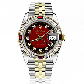 Rolex 36mm Datejust Diamond/Ruby Bezel & Red Vignette Color Dial with Diamond Numbers Jubilee Band