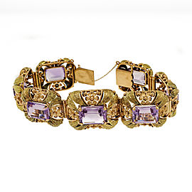 18K Pink and Green Gold with 70.00ct Amethyst Art Deco Bracelet