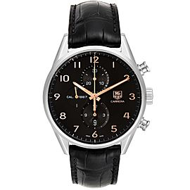 Tag Heuer Carrera 1887 Black Dial Chronograph Steel Watch CAR2014 Box Card