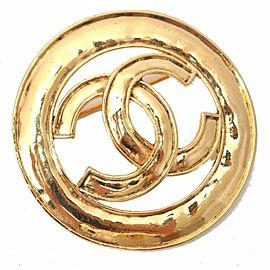 CHANEL CC Logo Pin Brooch Gold Plating