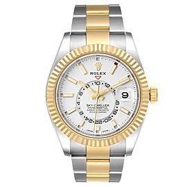 Rolex Sky Dweller Yellow Gold Steel White Dial Mens Watch 326933