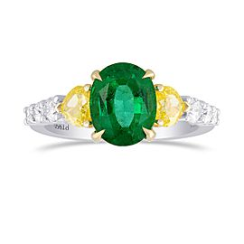Leibish 950 Platinum and 18K Yellow Gold with 1.60ct Green Emerald & Diamond Ring Size 6.25