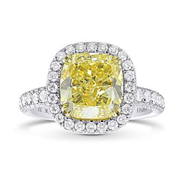 Leibish Platinum 18K Yellow Gold Fancy Yellow Cushion Diamond Halo Ring Size 6.25
