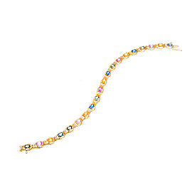 14K Yellow Gold with Diamond and Multi-Color Sapphire Bracelet
