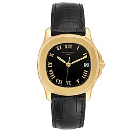 Patek Philippe Aquanaut 18k Yellow Gold Black Dial Mens Watch 5060J