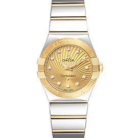 Omega Constellation Steel Yellow Gold Diamond Watch 123.20.27.60.58.002