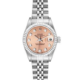 Rolex Datejust Steel White Gold Salmon Diamond Dial Ladies Watch 79174