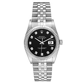 Rolex Datejust Steel White Gold Black Diamond Mens Watch