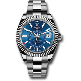 Rolex Sky-Dweller 326934BLSO 18K White Gold and Stainless Steel Blue Dial 42mm Automatic Mens Watch