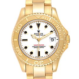 Rolex Yachtmaster Midsize 18K Yellow Gold White Dial Unisex Watch 68628
